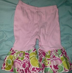 Haute Baby Pink Green Ruffled Flare Legging Pants